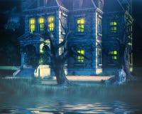 Spökad husbakgrund med sjön Arkivbilder