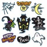 Spökad hushalloween samling med häxan, skelettet och spöken stock illustrationer