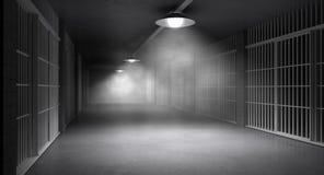 Spökade arrestkorridor och celler royaltyfria foton