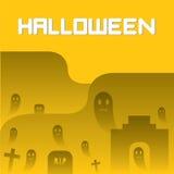Spökar och kyrkogårdallhelgonaaftonbakgrund Royaltyfri Bild