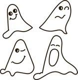 Spökar svartvitt som drar, sinnesrörelser: nfunny leende, förvånat som skrämmas, blinkningar, gäspningar, allhelgonaafton Arkivbild