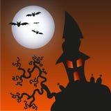 Spökat gigantiskt hus - allhelgonaaftonbakgrund stock illustrationer