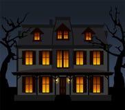 Spökat hus i natten. Vektorillustration. stock illustrationer