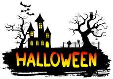 Spökat hus på halloween Royaltyfri Foto