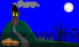 Spökat hus på kullen Arkivbild