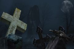 Spöke med galandet i kyrkogården royaltyfria foton