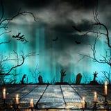 Spöklik allhelgonaaftonbakgrund med gamla trädkonturer royaltyfri illustrationer