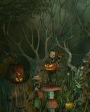 Spöklik elakt trollallhelgonaaftonskog stock illustrationer