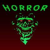 Spöklik grön levande dödframsida också vektor för coreldrawillustration Arkivbilder
