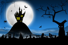spöklik halloween natt Royaltyfri Fotografi