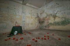 Spöklik kuslig spindelrengöringsduk Helloween Arkivbild