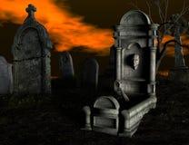 spöklik kyrkogård Royaltyfria Foton