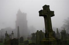 spöklik kyrkogård Arkivbilder
