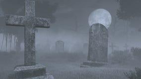 Spöklik kyrkogård under fullmånen Handheld kameraeffekt vektor illustrationer