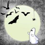 Spöklik slagträrengöringsduk och Moon Arkivfoton