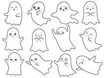 Spöklika halloween för gullig kawaiispöke spökar och att le spöke och det läskiga spöklika teckenet med tecknade filmen för bufra royaltyfri illustrationer