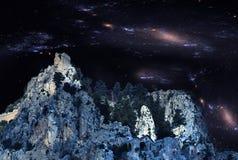 Spöklika ruiins av slotten för St Hilarion fotografering för bildbyråer