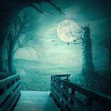 Spöklika trän på månsken som den halloween bakgrunden Arkivfoton