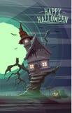 Spöklikt gammalt hus av häxan på trädet Lycklig allhelgonaaftoncardposter Arkivfoto