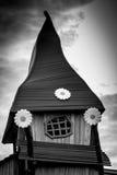 Spöklikt gammalt tecknad filmhus i svartvitt Royaltyfri Fotografi