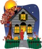 spöklikt halloween hus Arkivfoton