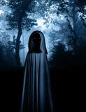 Spöklikt monster i med huva kappa i dimmig skog stock illustrationer