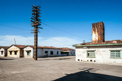 Spökstad Humberstone i Atacama, Chile arkivbild