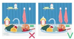 Spülbecken mit schmutzigen Tellern und sauberen Tellern Illustration vorher und nachher hausarbeit vektor abbildung