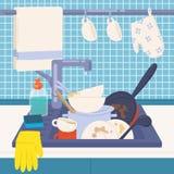 Spülbecken voll von den schmutzigen Tellern oder Küchengeschirr zum sich zu waschen, Reinigungsmittel, Schwamm und Gummihandschuh stock abbildung