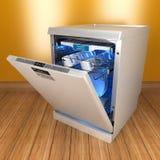Spülmaschine auf dem Bretterboden 3d Lizenzfreie Stockfotos