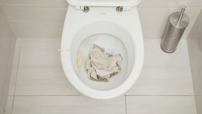 Spültoilette Wasser lief in die Toiletten-Schüssel aus Lizenzfreie Stockbilder