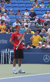 Siebzehnmal Grand Slammeister Roger Federer übt für US Open an König National Tennis Cente Billie-Jean Lizenzfreies Stockfoto