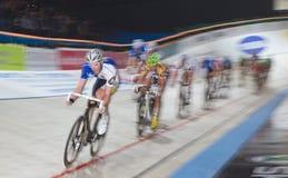 spüren Sie Fahrradrennen an Sechstägig-Nacht-ZÃ ¼ Reichen 2011 auf Stockbild