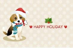 Spürhundhund mit Feiertagsmeldung Lizenzfreies Stockbild