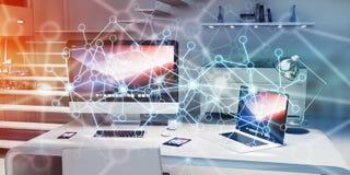 Spławowa rozjarzona kropki sieć na desktop 3D renderingu Obrazy Royalty Free