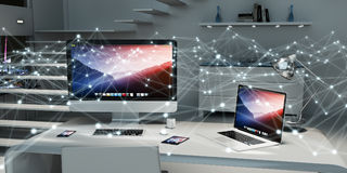 Spławowa rozjarzona kropki sieć na desktop 3D renderingu Zdjęcie Stock