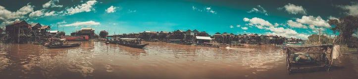 Spławowa wioska Kompong Phluk, Siem Przeprowadza żniwa, Kambodża Obraz Stock