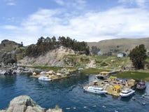 Spławowe wyspy Jeziorny Titicaca, Boliwia obrazy royalty free