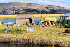 Spławowe wyspy na Jeziornym Titicaca Puno, Peru, Ameryka Południowa, pokrywający strzechą do domu Zwarty korzeń który zasad Zdjęcie Stock