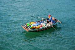 Spławowy rynek, brzęczenia Tęsk zatoka, Wietnam Halong Zatoka Obrazy Royalty Free