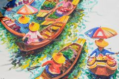 Spławowy rynek malujący obrazek, Damnoen Saduak royalty ilustracja