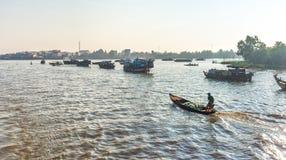 Spławowy rynek produkty rolni na Mekong zdjęcie royalty free