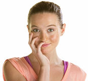 Spłoniona młoda kobieta Fotografia Stock
