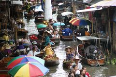 Spławowy rynek, Damnoen Saduak, Tajlandia Zdjęcie Stock