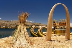 spławowych wysp jeziorni Peru titicaca uros Obrazy Royalty Free