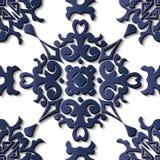 Sp för blått för kurva för modell för sömlös lättnadsskulpturgarnering retro royaltyfri illustrationer
