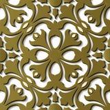 Sp för kurva för sömlös modell för lättnadsskulpturgarnering retro guld- vektor illustrationer