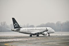 SP-LDK plane. This is a view of PLL LOT airline plane Embraer ERJ 170 Star Alliance registered as SP-LDK. December 31, 2014. Warsaw Chopin Airport in Warsaw Stock Images