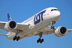 SP-LRH :全部波兰航空公司波音787-8 Dreamliner 库存照片