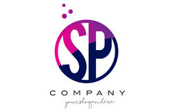 Free SP S P Circle Letter Logo Design With Purple Dots Bubbles Royalty Free Stock Photo - 90109765